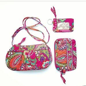 Vera Bradley 3pc Pink Swirls Crossbody Bag NWOT